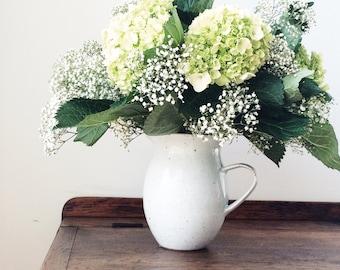 Farmhouse Pitcher, Ceramic White Pottery Vase, Handmade Pottery Stoneware Pitcher, White Flower Vase, Farmhouse Ceramic Pitcher