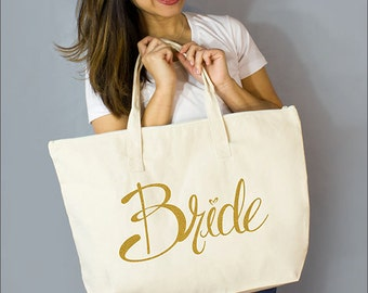 "Gold Bride Large Zip Tote: 100% Natural Cotton Canvas 22""W x 15""L x 5""D with Interior Zippered Pocket and Bottom Gusset- Ellafly LLC"