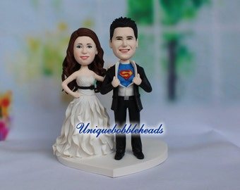superman wedding cake topper, comic book wedding, geek wedding cake, superhero cake topper, custom wedding cake topper, personalized wedding