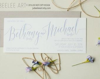 Elegant modern calligraphy wedding invitation, serenity pantone, periwinkle, light blue, rustic elegance