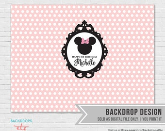 Minnie Mouse Backdrop // Vintage Minnie Mouse // Printable Backdrop