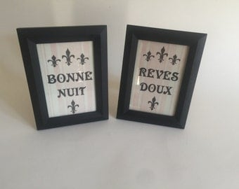 French Inspired Vintage Bonne Nuit & Reves Doux Pictures