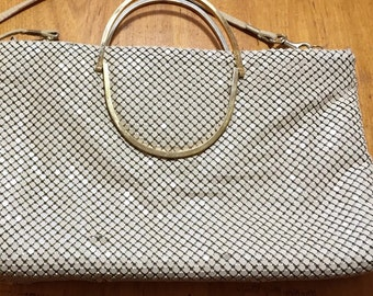 mesh purse, white with gold handles, vintage