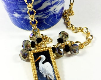 Miniature Painting Necklace, Hand Painted Landscape Pendant, Gold Necklace
