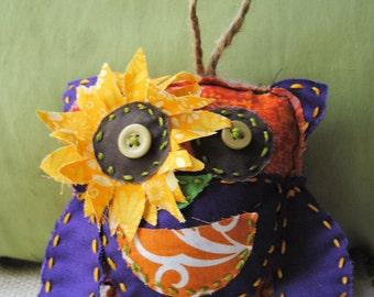 Flower Owl Tooth Pillow: Sunflower