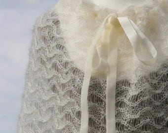 Bridal cape, bridal shawl, wedding shawl, bridal wrap, knitted shawl, knitted scarf, mohair, silk, ivory, white, creamwhite