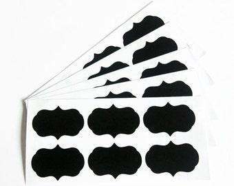 36 Chalkboard Labels - Scalloped Edge Tags - Blackboard Tags - Mason Jar Labels - Stickers - Wedding Labels - Organization Labels - OC114