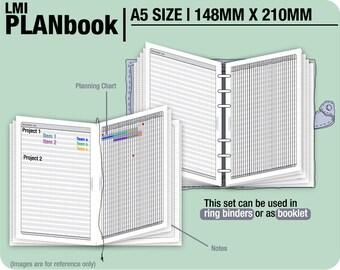 FULL [A5 PlanBook] August 2017 to December 2018 - Filofax Inserts Refills Printable Binder Planner Midori.
