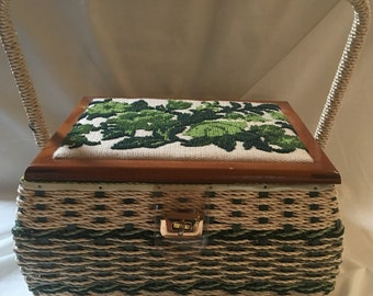 Sewing Basket w Needlepoint top, 1960s