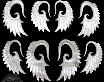 Angel Wing Mother of Pearl Hangers Plugs - Sizes / Gauges (12G, 8G, 6G, 4G, 2G)