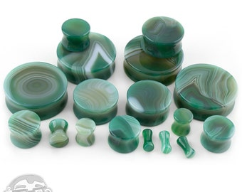 Green Line Agate Stone Plugs - Double Flare (8G - 32mm) Sold In Pairs - New!
