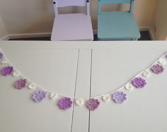 Flower Garland 230cm. 23, flowers in Cream, Pink and Lilacs. Crochet cord with loops at ends for hanging. Party, birthday & baby shower