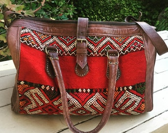 Vintage Moroccan Rug and Leather Travel Tote