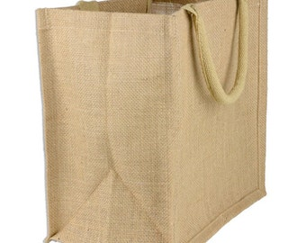 9 x 11 x 4 Jute Shopping Tote Bag Euro Style - 6 Pack