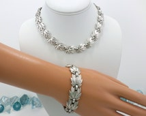 Trifari Necklace Bracelet Set Brushed Silver 1950's Crown Trifari Parure Matching Jewelry Set