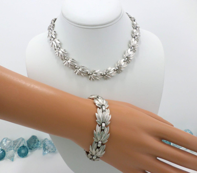 Trifari Necklace Bracelet Set Brushed Silver 1950 s Crown