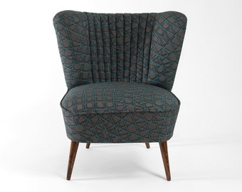 Grey/turquoise coctail chair from 70's - restored