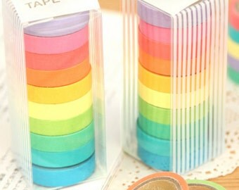 Set of 10 Multicoloured Washi Tape