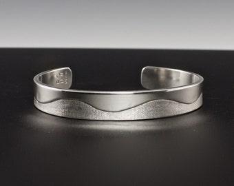 Sterling Silver Cuff Bracelet - Silver Cuff Bracelet - Modern Bracelet - Half Polished Half Textured - Unisex Cuff - Wave Cuff Bracelet