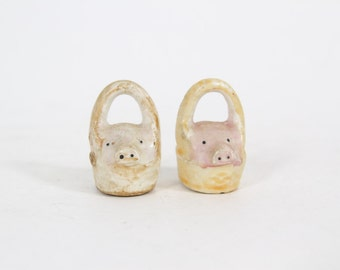 Vintage Minature Baby Pigs In Basket Salt and Pepper Shakers, Made in Japan