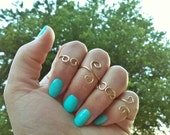 Whimsical Scroll Midi Ring Set, Solid Brass, Hammered