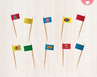 Superheroes ToothPick Flags | Superheroes Birthday Party | Instant Download