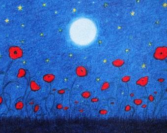 Poppy Print, Moon Stars Poppy Field Art Print, Flowers Gift, Spiritual Art, Abstract Poppies, Framed Poppy Print, Birthday Gift, Poppy Art