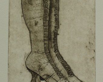 Original Collagraph Print - Antique/Vintage Ladies Boots