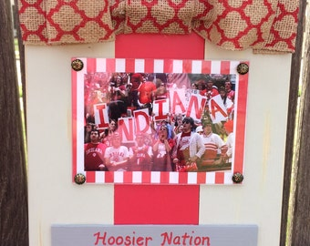 School Spirit Customized Large Bow Table Top Frame with Burlap Ribbon