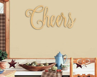 Cheers Sign, Script Cheers Wood Sign, Wood Sign Art, Bar Sign, Kitchen Sign, Wooden Cheers Sign, Wall Hanging, Home Decor, Wooden Wall Art