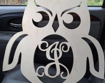 Monogram Door Hanger, Monogram Door Wreath, Wood Owl Cut Out, Wooden Monogram Letters, Nursery Decor, Wall Hanging Letters, Wooden Owl