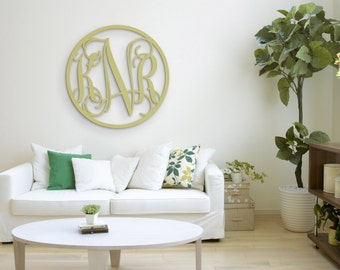 """Wooden Monogram Letters - Wood Monogram with border - Nursery Decor - Wedding decor - Wedding Guest Book - Wall Hanging Letters in 35"""" size"""