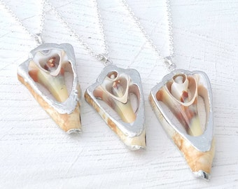 Geometric Sea Shell Necklace, Triangle Shell, Real Shell
