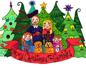 Holiday Card Design Personalized Hand Drawn Hand Made
