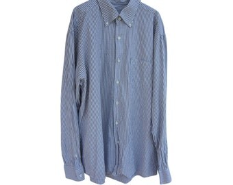 Vintage Ermenegildo Zegna men shirt striped grey 100% cotton