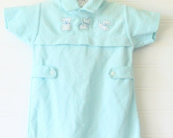 Vintage blue baby romper with animals detailing the chest, Carters romper for 6 Mo