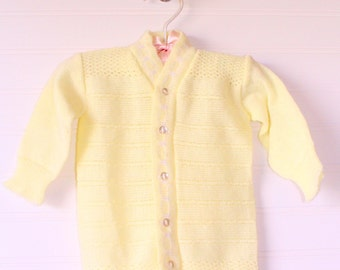 Vintage baby sweater, yellow knit with five buttons, size 0-3 months