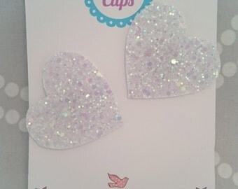 Iridescent White Glitter Heart Shoe Clips