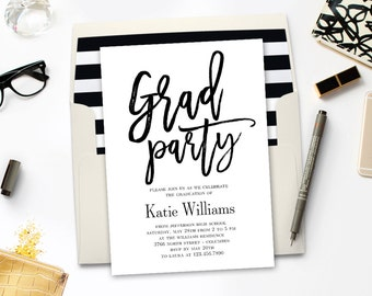 Printable Graduation Party Invitation - BRUSHED - with Bonus Printable Envelope Liner