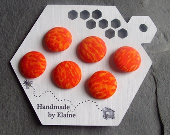 Fabric Covered Buttons - 6 x 19mm Buttons, Handmade Button, Bright Orange Fire Yellow Vermillion Marigold Carrot Sunrise Tiger Buttons, 2496