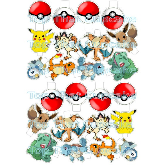 Pokemon Birthday Printable Cupcake Cake Toppers Birthday Wikii