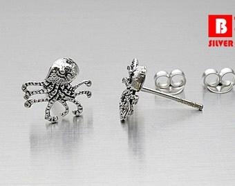 925 Sterling Silver Oxidized Earrings, Octopus Earrings, Squid Earrings, Stud Earrings (Code : K12J)