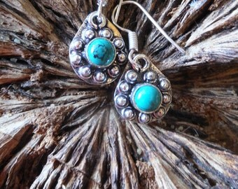 Turquoise and Sterling Silver Earrings.... 1.5 inches