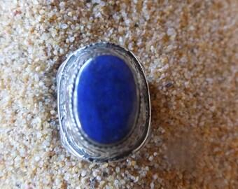 Turkmen Silver and Lapis Lazuli Ring....... Size 7
