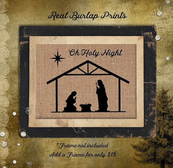 Nativity | Manger | Holiday | Bible Verse | Burlap Print | Christmas | Religious | C-009