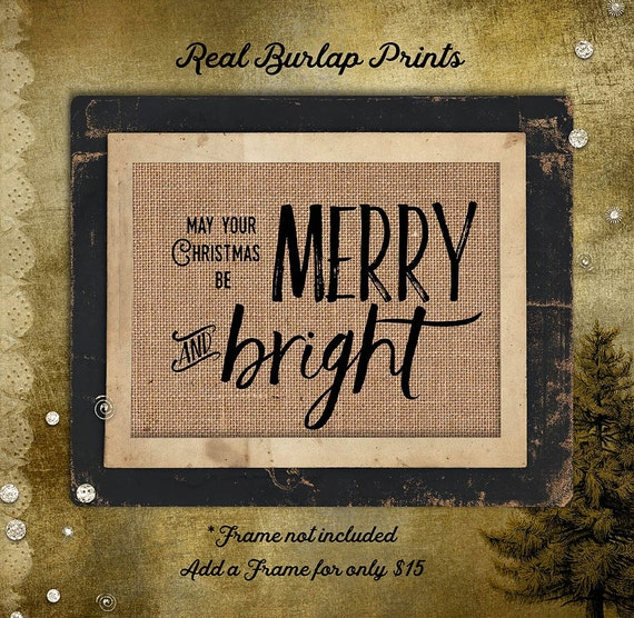 Christmas | Merry and Bright | Holiday | Southern |  Burlap Print | Personalized | # C-011