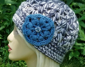 Vanna Crochet Hat with Flower Women's Beanie***Ready to Ship***