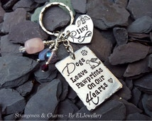 Hand Stamped Personalised 'Dogs Leave Pawprints on our Hearts' Charm Keychain, Stamped. Keyring, Pet Loss,Dog Memorial,Dog Lovers, Pawprints