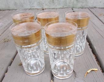 Set of Vintage Mid Century Drinking Glasses Gold Rim Raised Teardrop Gorgeous