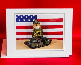 US Army Cat-Combat Cat Note Card-Blank Photography Cat Greeting Card-Gift Card for Cat Lovers-Cat in Camouflage-Dress Up Cat-AE19